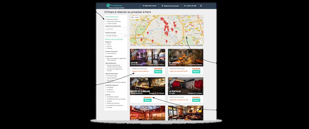 ¿Cómo funciona la búsqueda de locales?